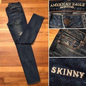 AEO Skinny Super Stretch X Distressed Denim Jeans